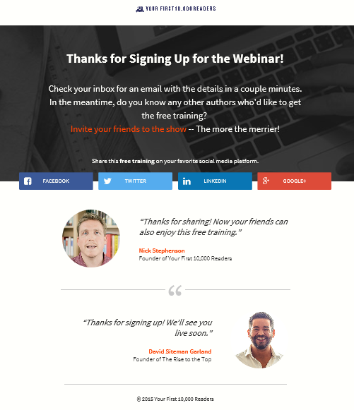Webinar Thank You Page Example 1