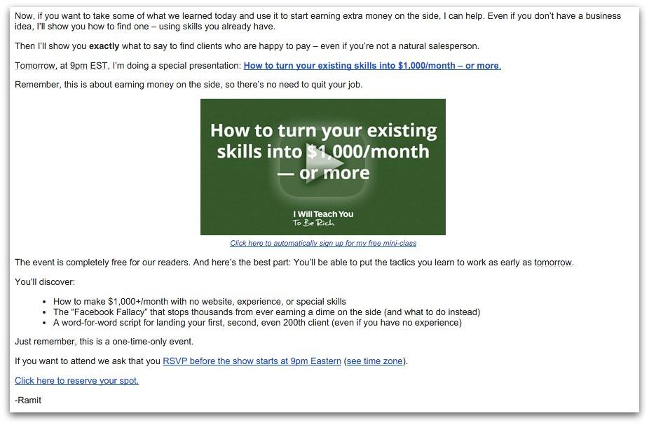 Ramit sethi webinar email