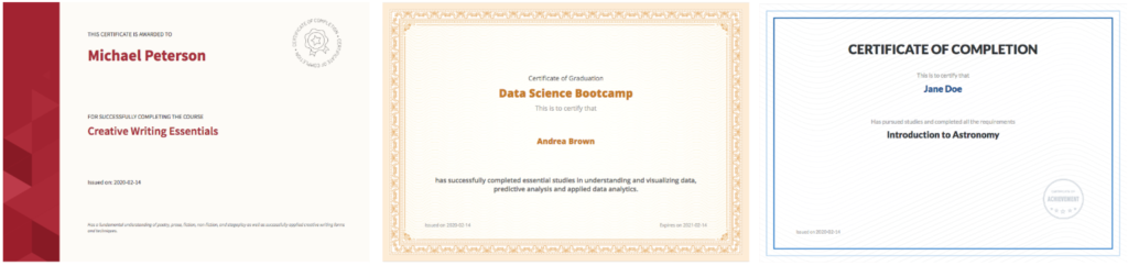 Thinkific Certificate Examples