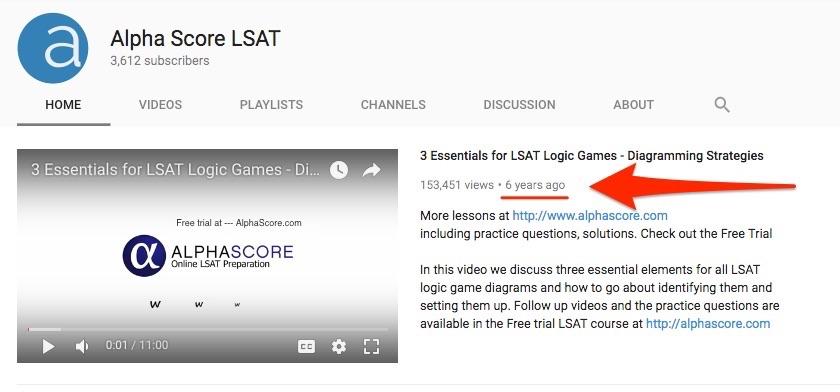 Youtube Marketing Example - Alpha Score LSAT YouTube Channel