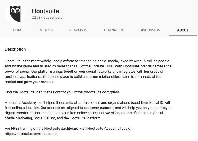 Video Marketing Tools - HootSuite YouTube Description