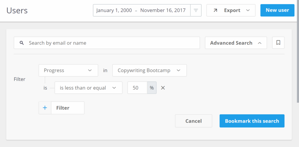 Using the Progress Filter in the Users Table