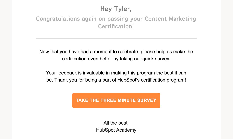 HubSpot Academy Survey Email