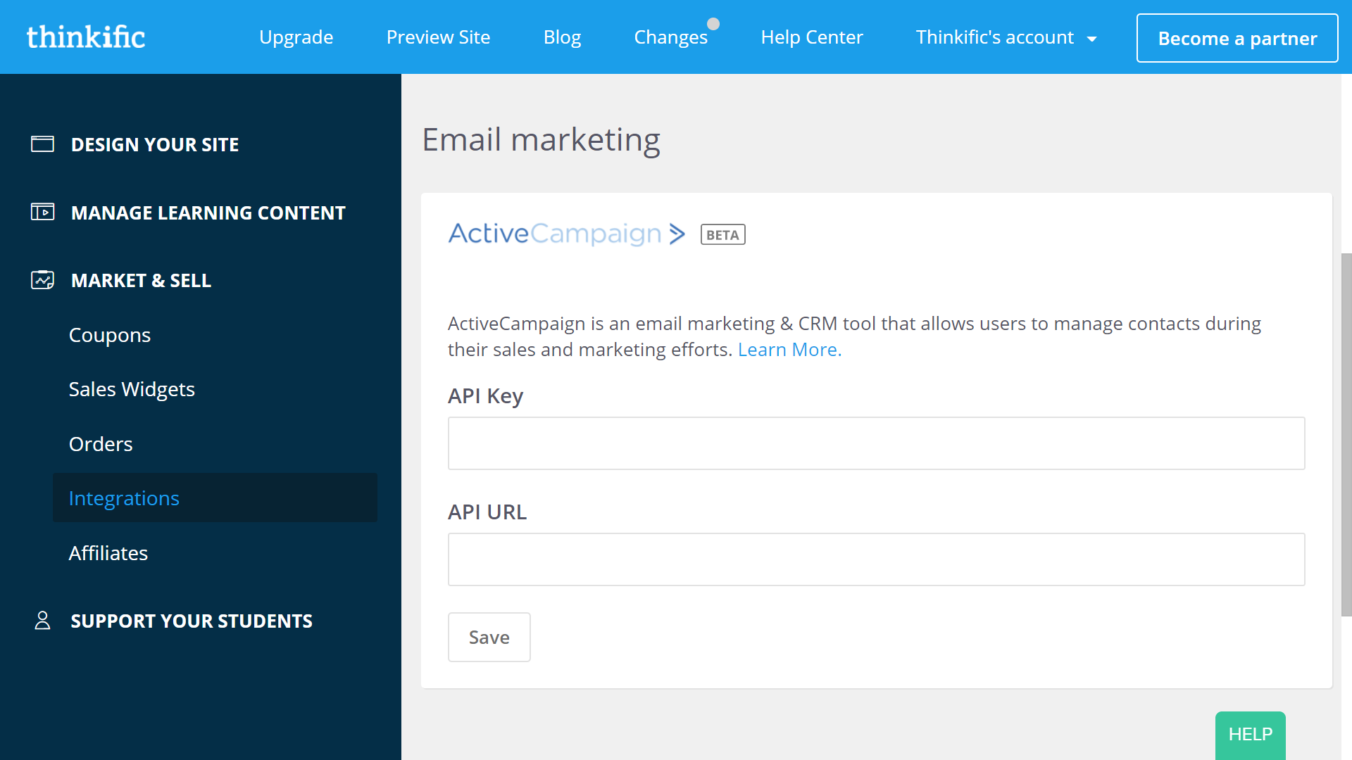 Integrate with ActiveCampaign on your Integrations page in the Thinkific Admin Dashboard