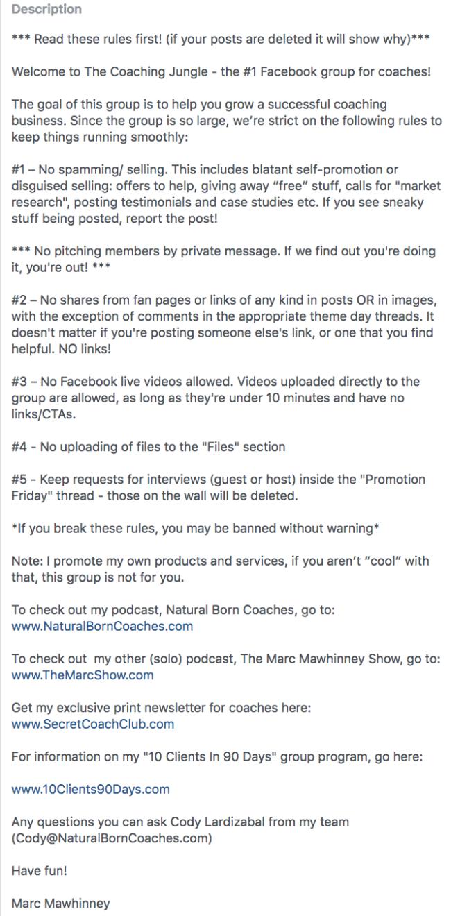 Facebook Group Description Example