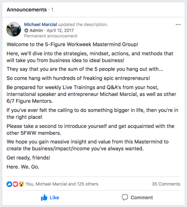 Facebook Group Welcome Post Example