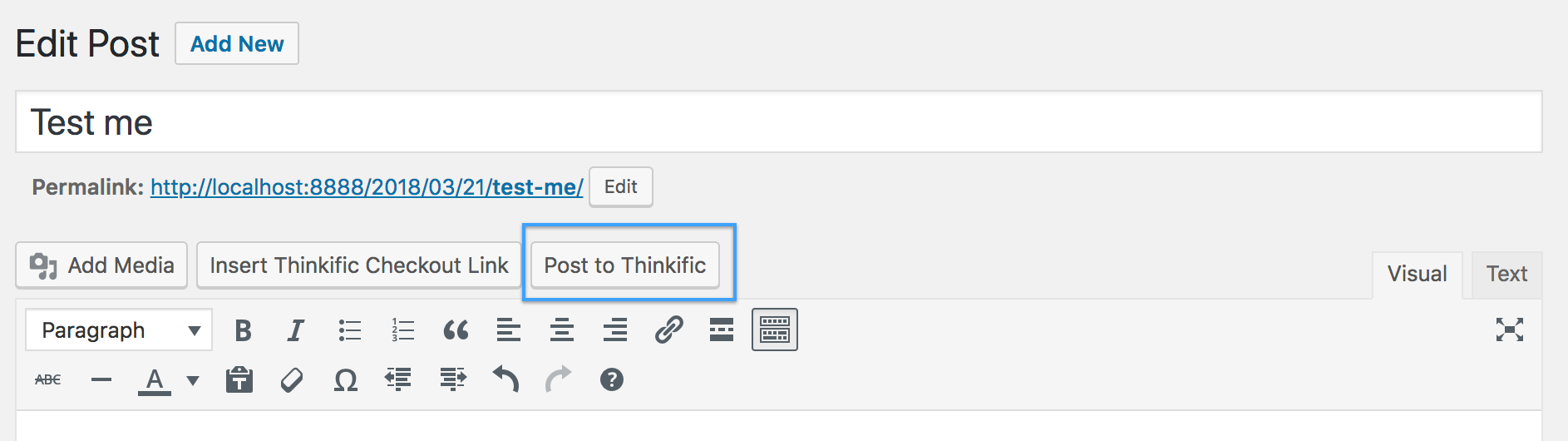 Post to Thinkific Button in WordPress