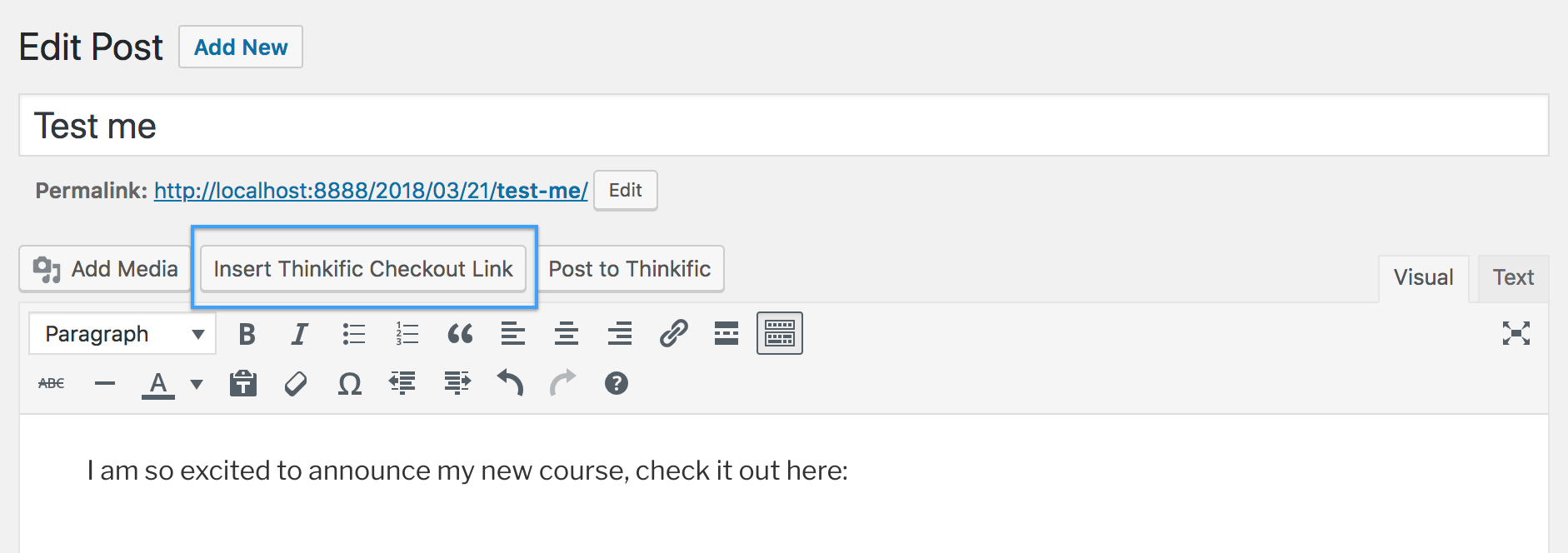 Insert Thinkific Checkout Link button in WordPress