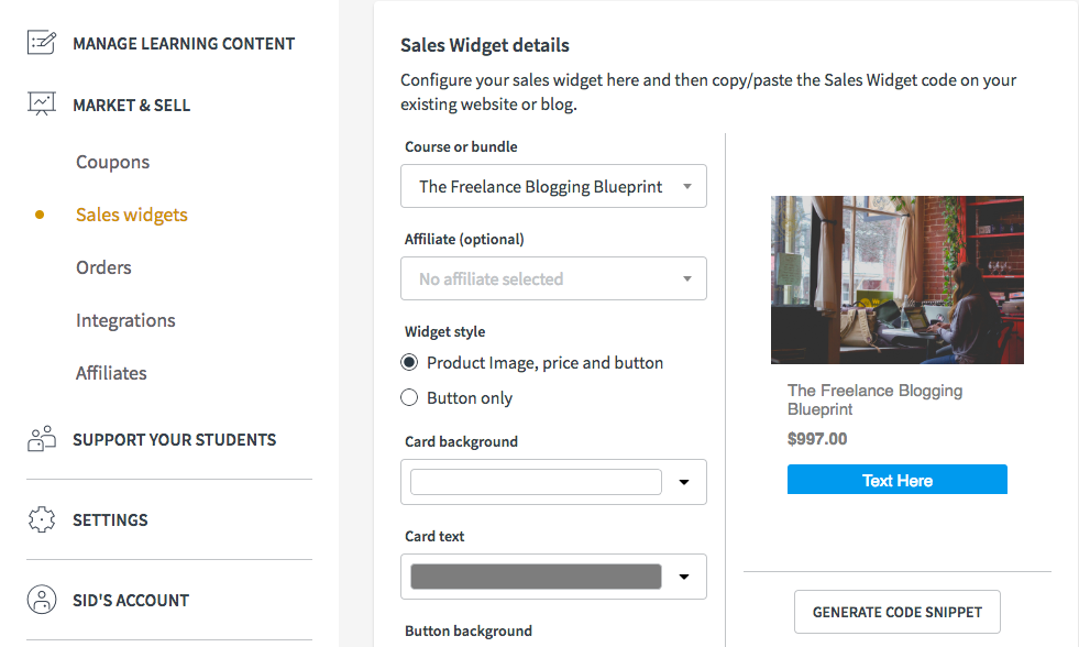Sell online courses with the Thinkific sales widget | Create and sell online courses | Thinkific online course platform