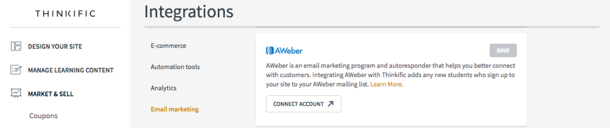 Integrate Aweber to market your online course | Create and sell online courses | Thinkific online course platform