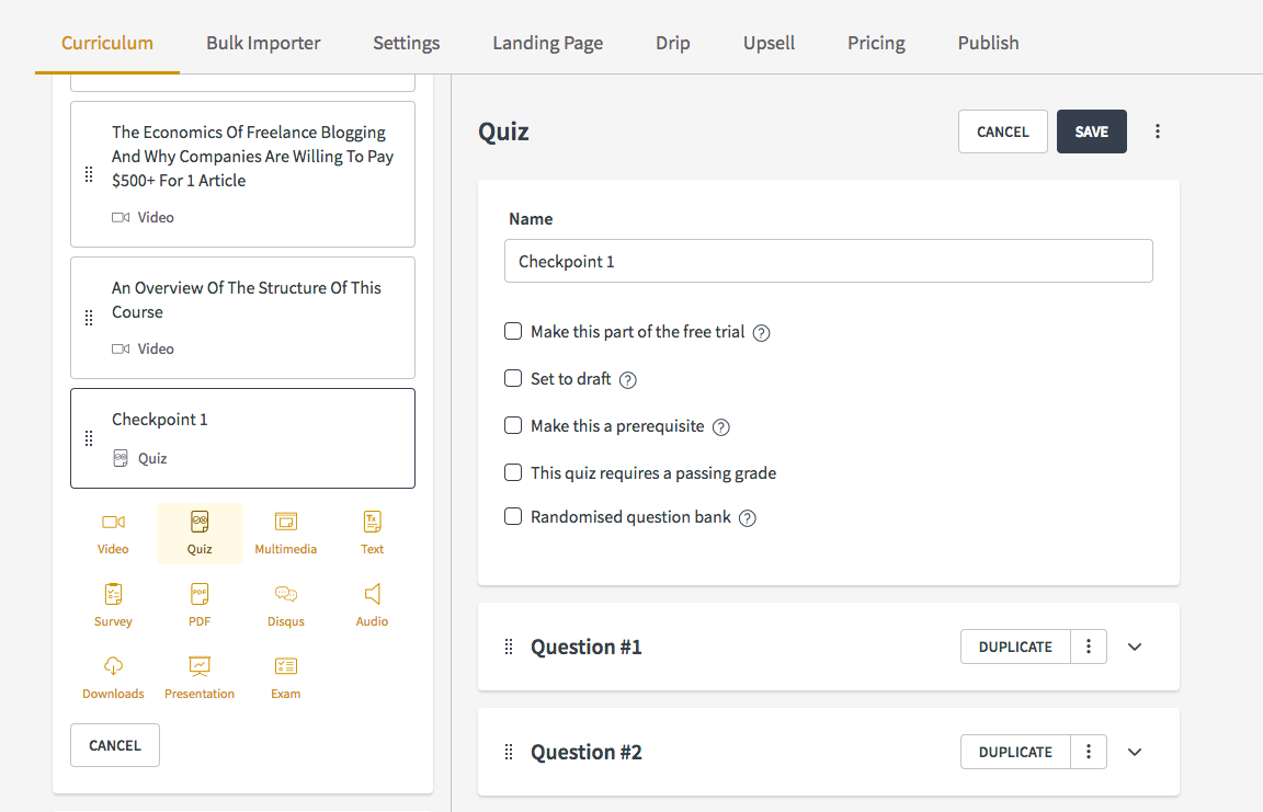 Create quizzes for your online course | Create and sell online courses | Thinkific online course platform