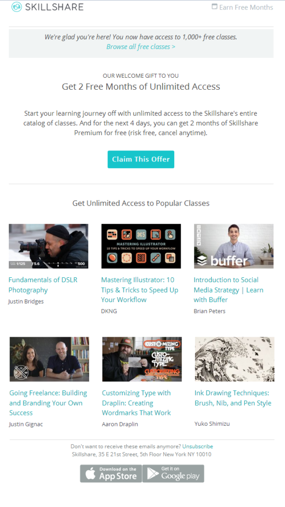 Skillshare welcome email example