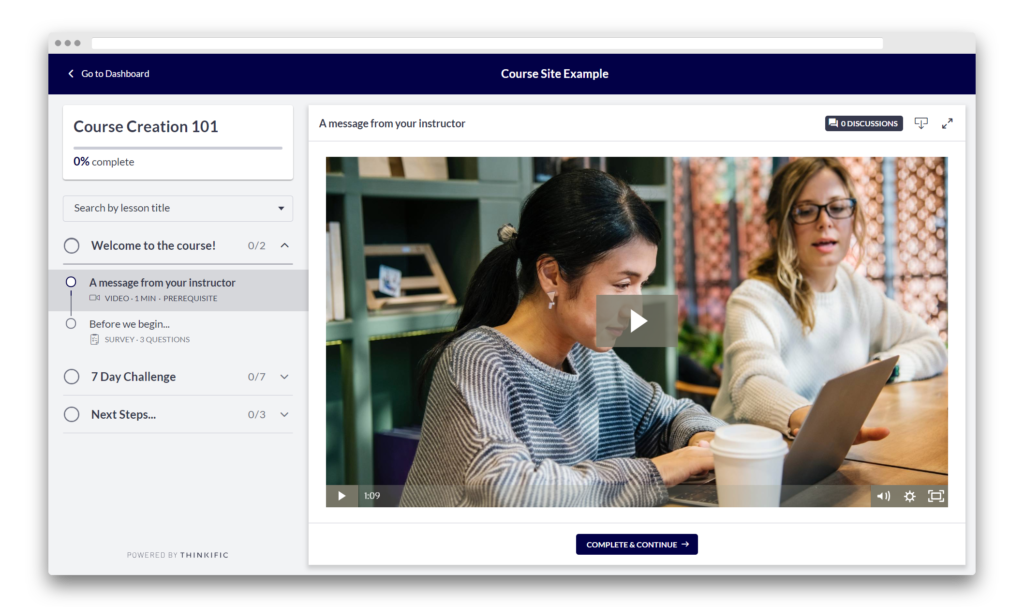 A Thinkific Online Course with the New & Improved Student Experience enabled