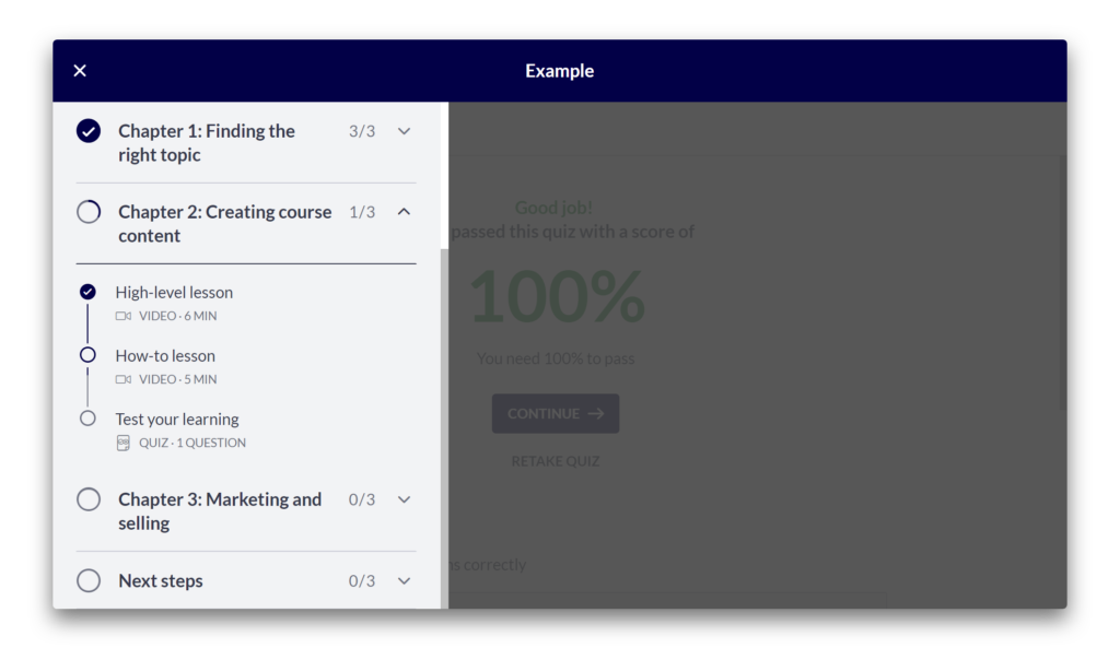 A course curriculum showing a completed lesson, a viewed lesson and and a lesson not yet viewed