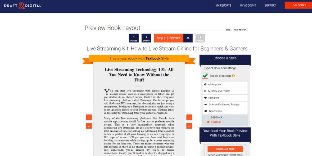 Draft 2 Digital ebook creator