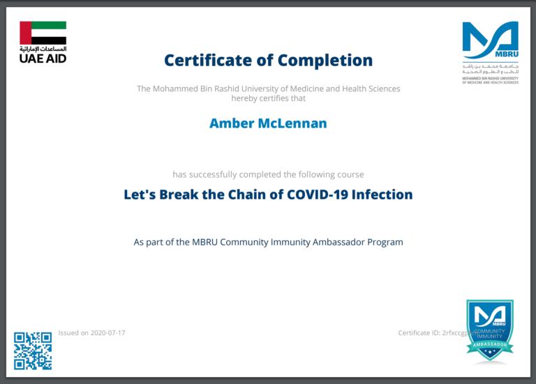 MBRU COVID-19 Course Certificate