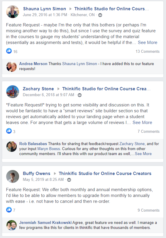 Product feedback and feature requests inside Thinkific's brand community