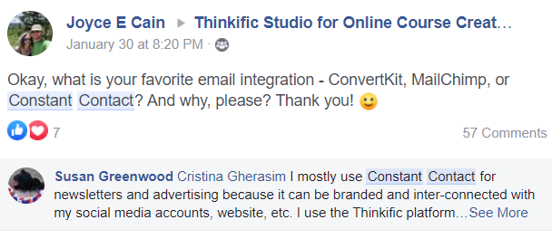 Content ideas from Thinkific's brand community