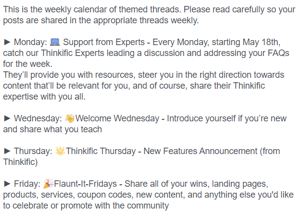 examples to create a theme for each day of the week in your community to boost engagement