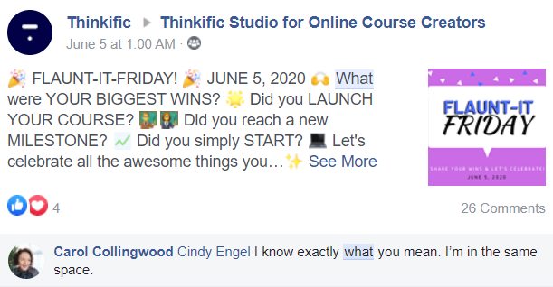 """Example post for Thinkific Community's """"Flaunt it Friday"""""""