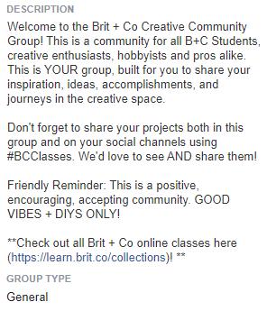 An example facebook community description