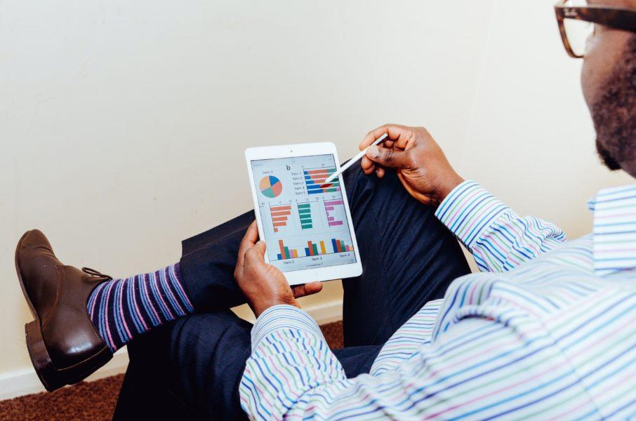 Manager reviewing metrics