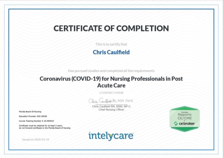 IntelyCare certificate