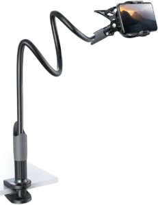 Desk mount with flexible gooseneck arms for recording with your phone over a table.