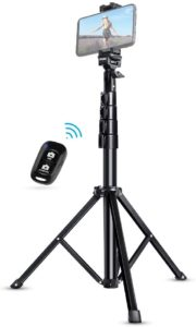 Example of a phone mounted on a tripod to record videos