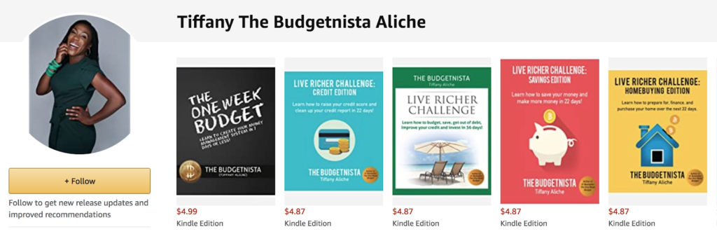 A screenshot of Tiffany Aliche (aka The Budgetnista)'s ebooks on Amazon as an example of a successful ebook seller