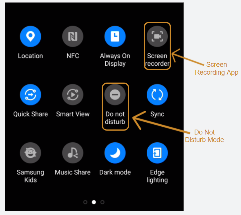 Android screen recording button and do not disturb mode
