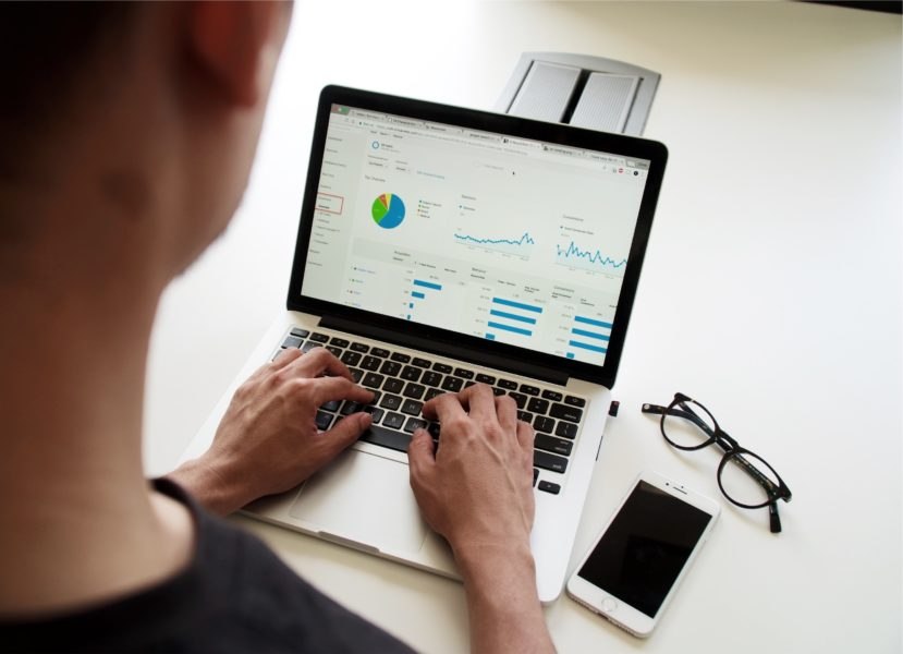 Person using Google Analytics dashboard