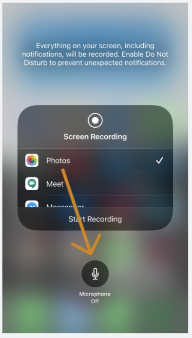 recording on iPhone - Microphone option