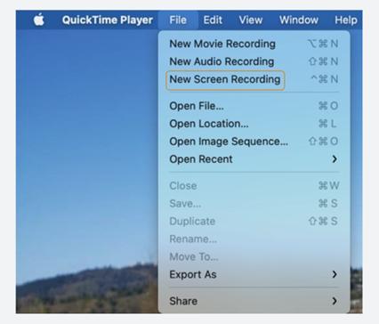 Mac Screen Recording through quicktime player