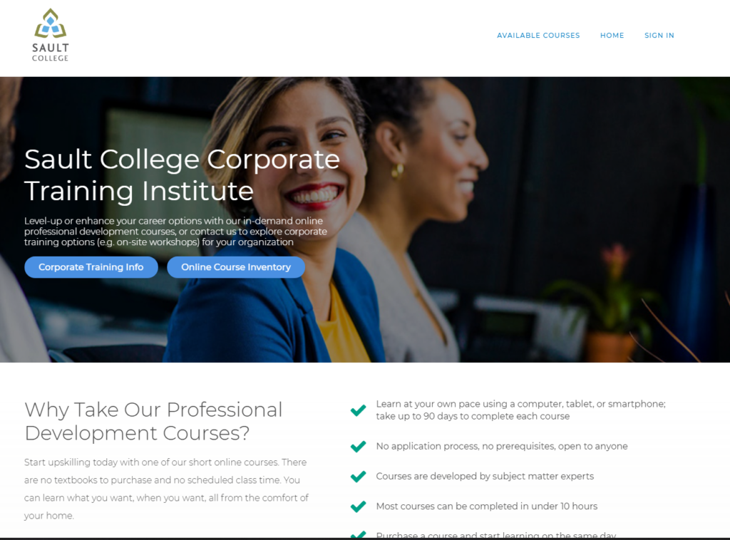 LMS Example of Sault College's LMS for Professional Development