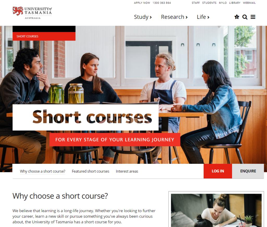 Screenshot of LMS website for Short Courses