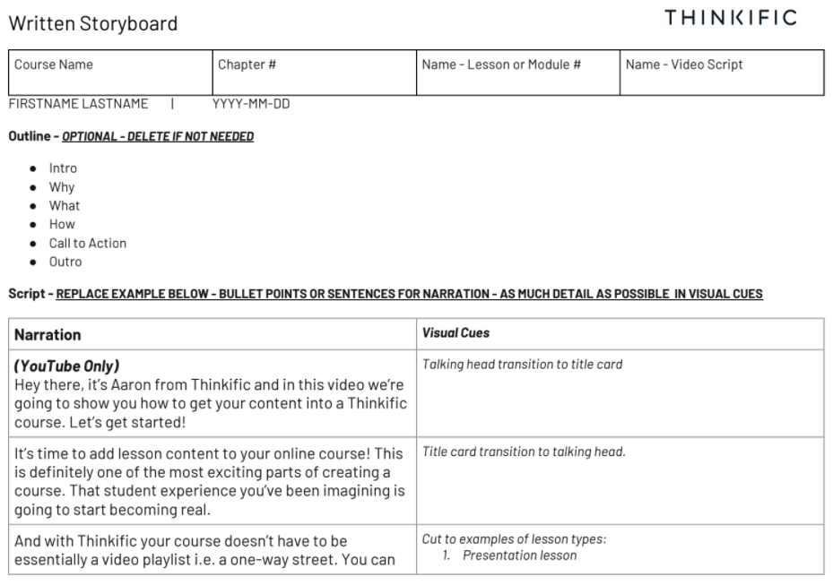 Example of a written storyboard filled out with example text