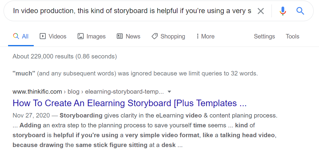 Example of a plagiarism check in google