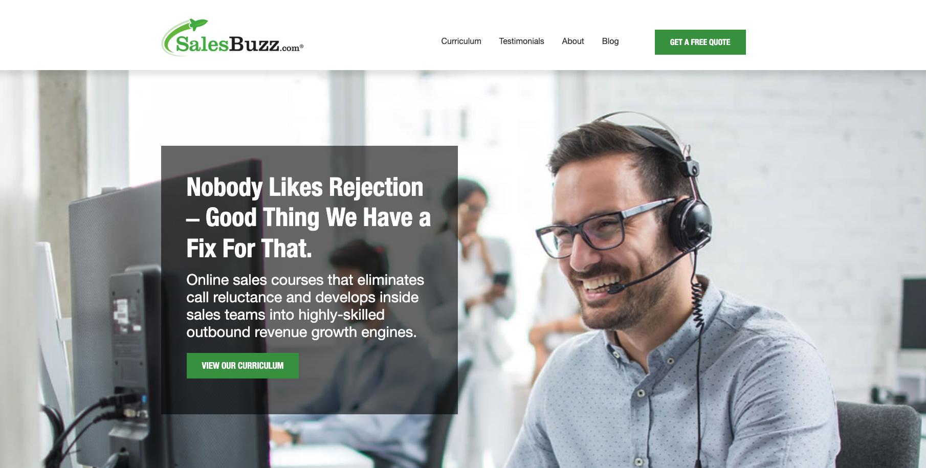 Screenshot of SalesBuzz's website homepage