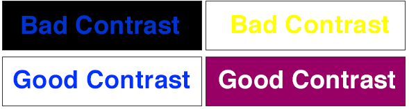 Examples demonstrating good and bad contrast