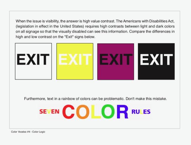 """Comparing the differences in high and low contrast on """"Exit"""" signs"""