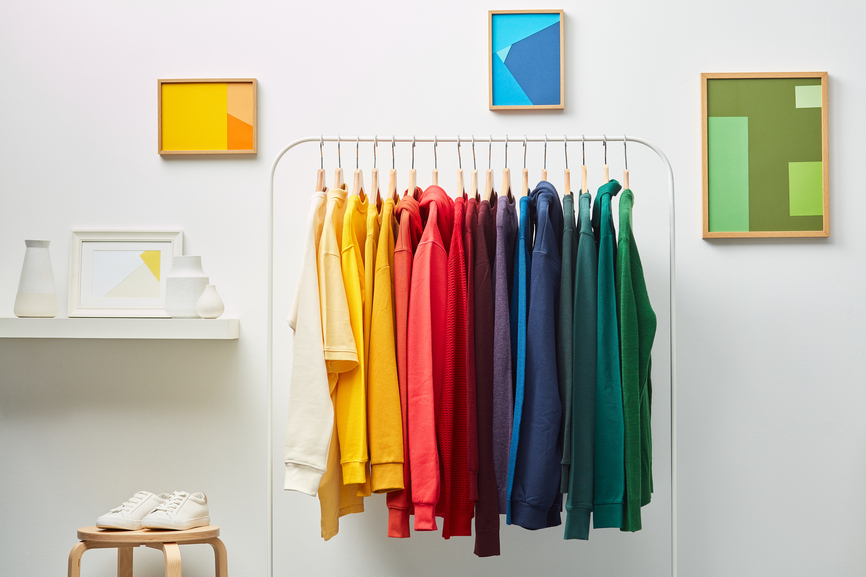 Vivid Clothing In Rainbow Row On Rack