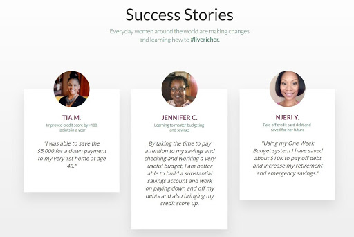 Screenshot of Success Stories from Tiffany Aliche's The Budgetnista