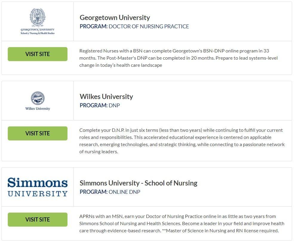 Screenshot of Doctor of Nursing Practice Degree Programs