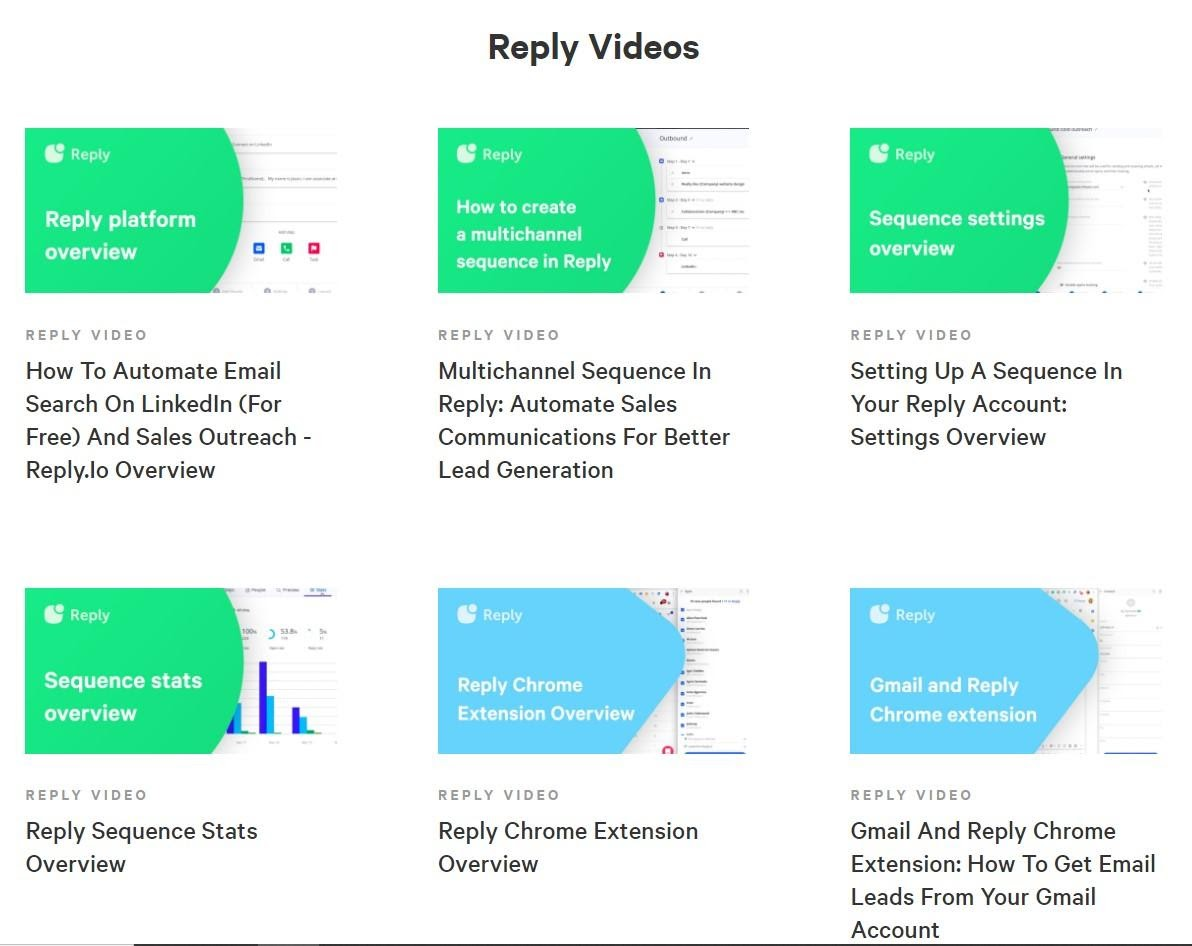 Screenshot of Reply's collection of resources