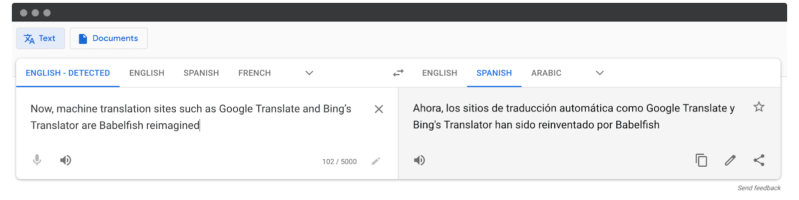 Screenshot: manually translate your online course by using Google or Bing Translate
