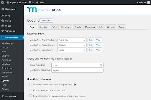 Screenshot of Memberpess
