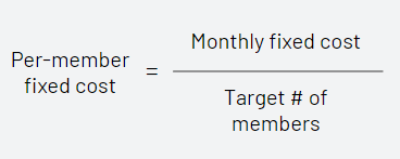 Determine your monthly per-member fixed cost allocation by dividing monthly fixed costs by your target number of members at the end of your first year.