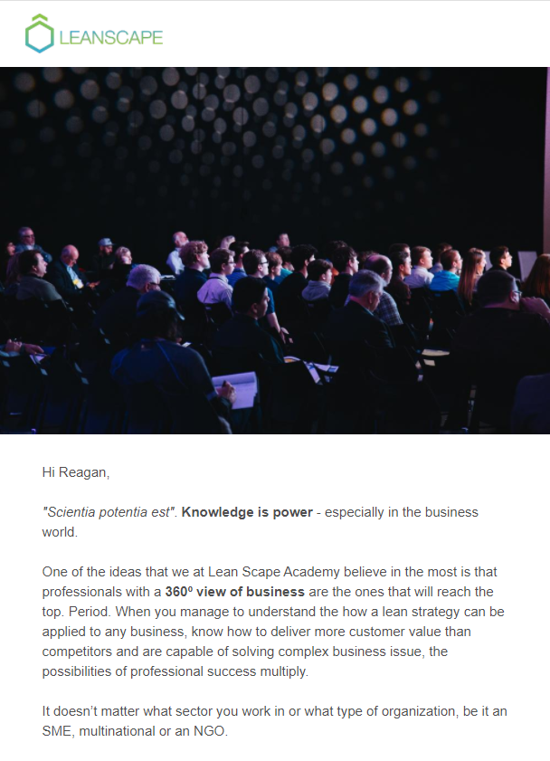 An example of an email sent by Leanscape to generate business