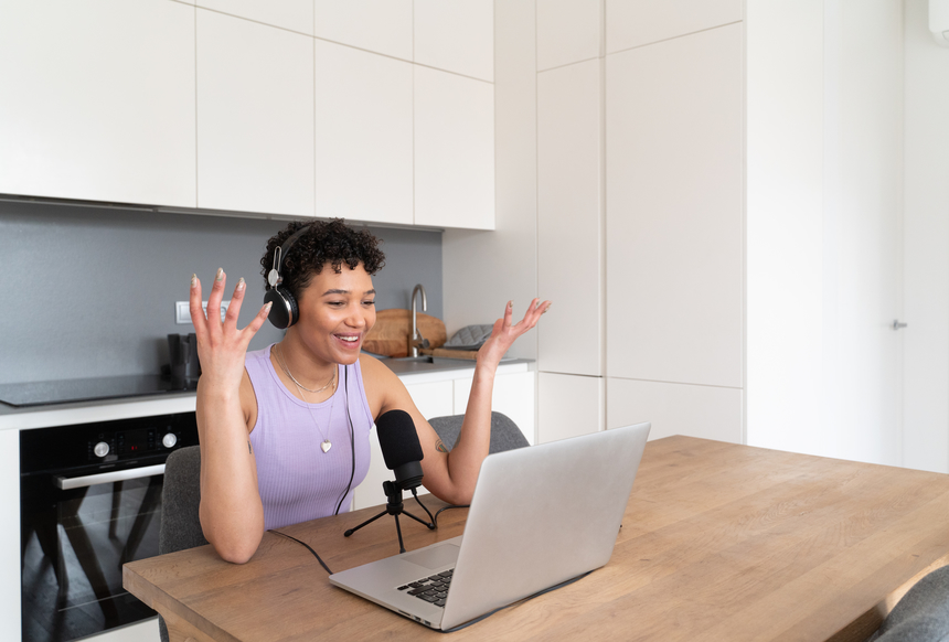 Woman recording podcast